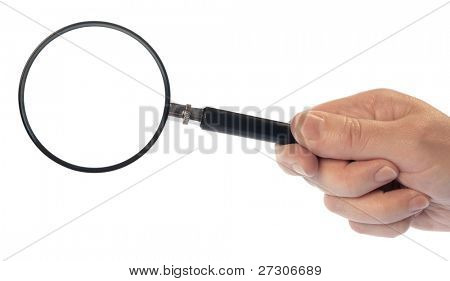 Hand with Magnifying Glass,isolated on white with clipping path.