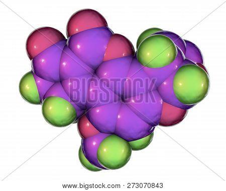 poster of Aflatoxin B1 molecule, a toxin produced by fungi Aspergillus, a potent carcinogen, 3D illustration