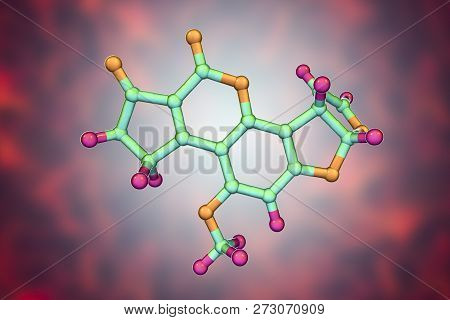 Aflatoxin B1 molecule, a toxin produced by fungi Aspergillus, a potent carcinogen, 3D illustration poster