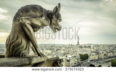 Gargoyle Or Chimera On The Cathedral Of Notre Dame De Paris Looks At The Eiffel Tower, Paris, France