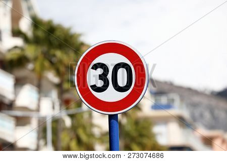 Road Sign, Speed Limit At 30 Km/h Zone, Menton, France, Europe