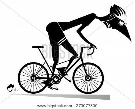 Tired Cyclist Rides A Bike Isolated Illustration. Tired Cartoon Cyclist Man In Helmet Overcomes A St