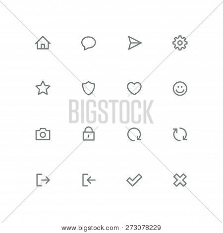 Bold Outline Icon Set - Home, Chat, Airplane, Gear, Star, Shield, Heart, Smile Face, Photo Camera, L