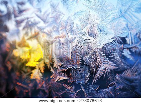 Natural Frosty Pattern On Winter Window Glass