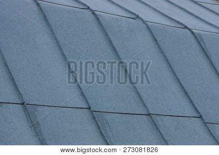 Gray Metallic Texture Of Zinc Coating On The Roof