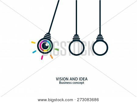 Vision And Idea. Colorful Eye Bulb Sign Business Concept.
