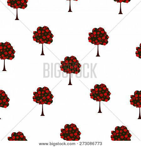 Seamless Pattern Green Big Trees With Red Roses Blooming, Vintage Style. Texture With Spring Garden