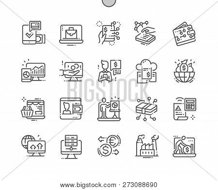 Digital Economy Well-crafted Pixel Perfect Vector Thin Line Icons 30 2x Grid For Web Graphics And Ap