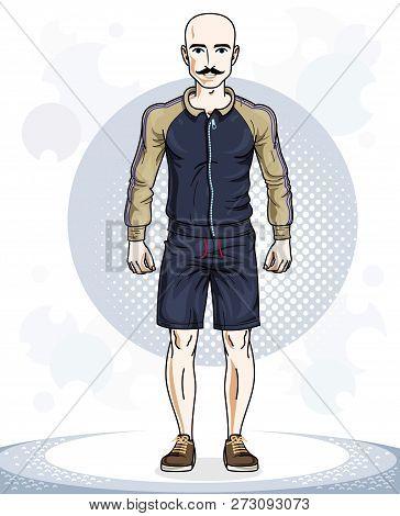 Handsome Hairless Young Man Posing. Vector Illustration Of Sportsman With Mustaches. Work Out And Tr