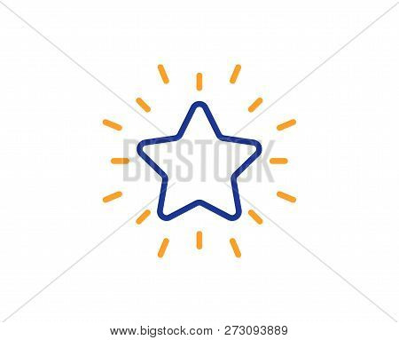 Rank Star Line Icon. Success Reward Symbol. Best Result Sign. Colorful Outline Concept. Blue And Ora