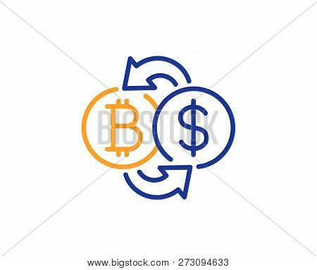 Bitcoin Exchange Line Icon. Cryptocurrency Coin Sign. Dollar Money Symbol. Colorful Outline Concept.