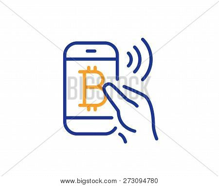 Bitcoin Mobile Pay Line Icon. Cryptocurrency Sign. Crypto Money Symbol. Colorful Outline Concept. Bl