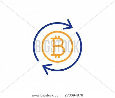 Bitcoin Line Icon. Refresh Cryptocurrency Coin Sign. Crypto Money Symbol. Colorful Outline Concept.
