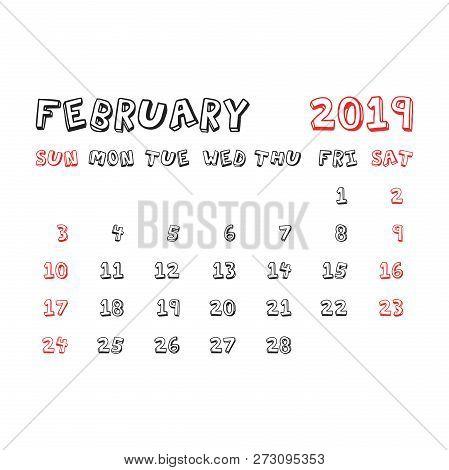 Calendar February 2019 Year In Cartoon Child Style. Calendar Pla
