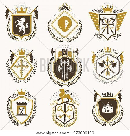 Vector Vintage Heraldic Coat Of Arms Designed In Award Style. Medieval Towers, Armory, Royal Crowns,
