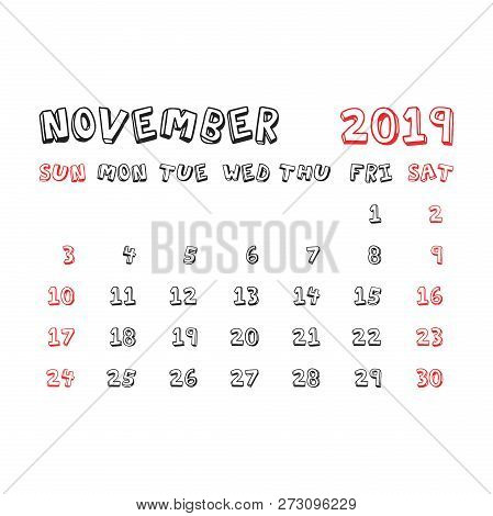 Calendar November 2019 Year In Cartoon Child Style. Calendar Pla