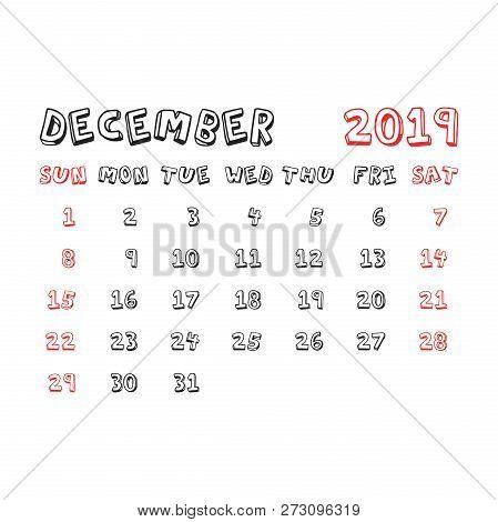 Calendar December 2019 Year In Cartoon Child Style. Calendar Pla