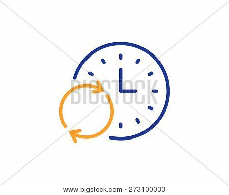 Time Line Icon. Update Clock Or Deadline Symbol. Time Management Sign. Colorful Outline Concept. Blu