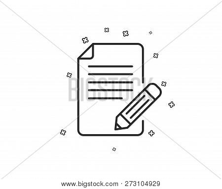 Feedback Line Icon. Page With Pencil Sign. Copywriting Symbol. Geometric Shapes. Random Cross Elemen