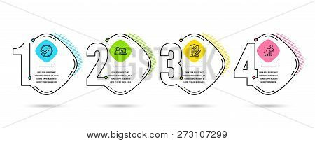 Infographic timeline set of Online education, Rfp and Audit icons. Stats sign. Internet lectures, Request for proposal, Arrow graph. Business analysis. Vector poster