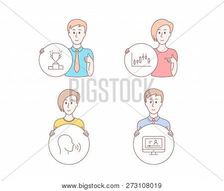 People Hand Drawn Style. Set Of Winner Podium, Human Sing And Candlestick Graph Icons. Online Video
