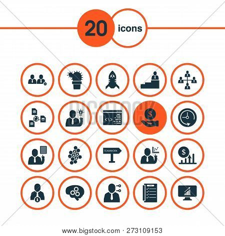 Work Icons Set With Workflow, Multitasking, Brainstorm And Other Economy Elements. Isolated Vector I