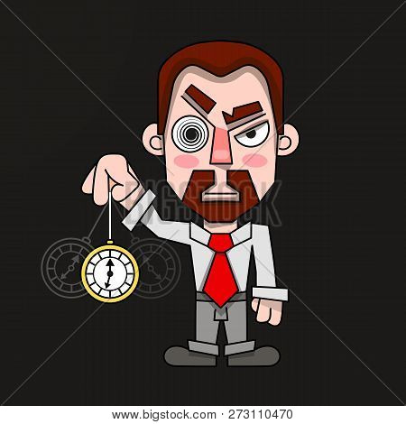 Hypnotist With A Clock In A Shirt And Tie Vector