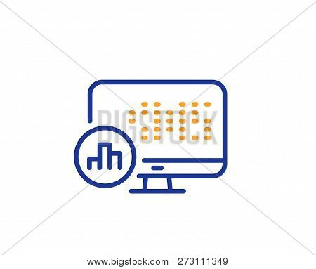 Report Statistics Line Icon. Column Graph Sign. Growth Diagram Symbol. Colorful Outline Concept. Blu