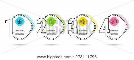 Infographic Template 4 Options Or Steps. Set Of Sun, Secret Gift And Gift Box Icons. Calendar Discou