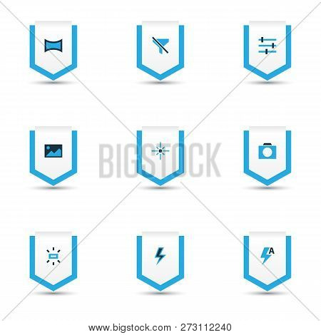 Image Icons Colored Set With Tune, Lightning, Image And Other Sparkle Elements. Isolated Vector Illu