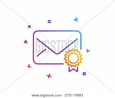 Verified Mail line icon. Confirmed Message correspondence sign. E-mail symbol. Gradient line button. Verified Mail icon design. Colorful geometric shapes. Vector poster