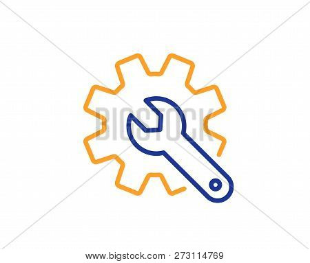 Customisation Line Icon. Settings Or Editing Sign. Repair Symbol. Colorful Outline Concept. Blue And