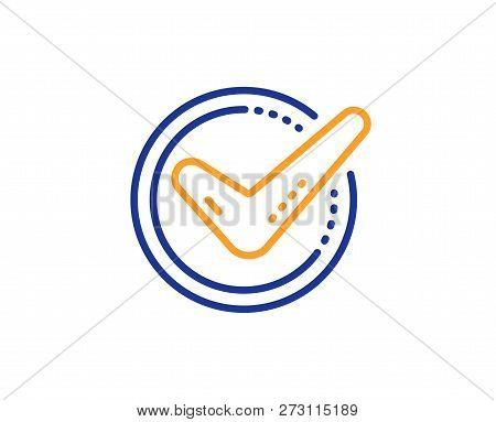 Check Mark Line Icon. Accepted Or Approve Sign. Tick Symbol. Colorful Outline Concept. Blue And Oran