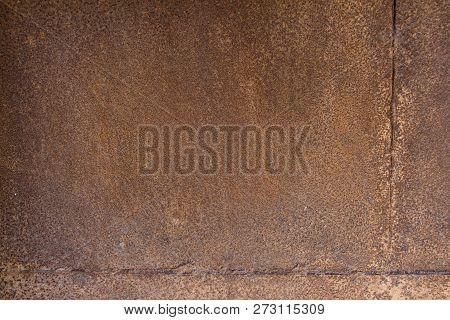 Rusty Brown Metal Plate, Brown Metal Background Texture, Metal Steel Vintage Plate With Some Old Scr