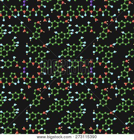 Seamless Pattern With Formula Of Adrenaline, Oxytocin, Cortisol, Dopamine And Serotonin Hormones.