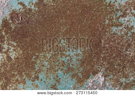Rusty Green Metal Plate, Green Metal Background Texture, Metal Steel Vintage Plate With Some Old Scr