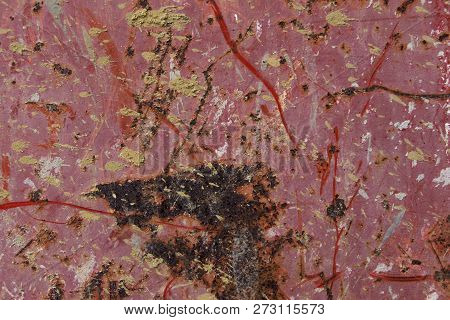 Rusty Red Metal Plate, Red Metal Background Texture, Metal Steel Vintage Plate With Some Old Scratch