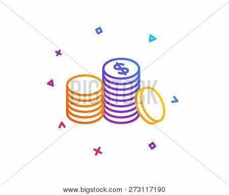 Coins Money Line Icon. Banking Currency Sign. Cash Symbol. Gradient Line Button. Banking Money Icon