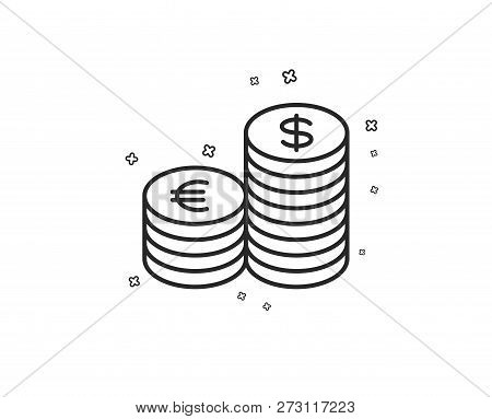 Coins Money Line Icon. Banking Currency Sign. Euro And Dollar Cash Symbols. Geometric Shapes. Random