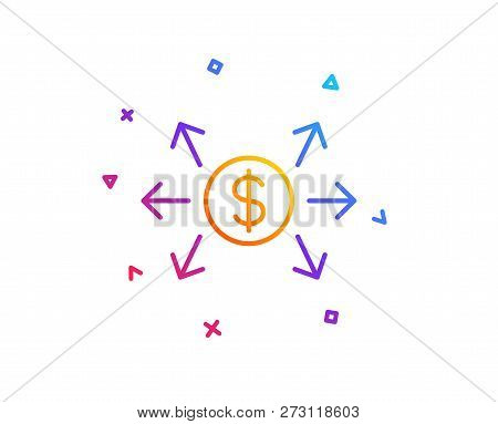 Dollar Exchange Line Icon. Payment Sign. Finance Symbol. Gradient Line Button. Dollar Exchange Icon