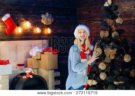 Christmas Interior. Funny Christmas Girl. Winter Holidays And People Concept. True Emotions. Funny.