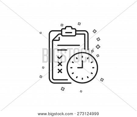 Exam Time Line Icon. Checklist Sign. Geometric Shapes. Random Cross Elements. Linear Exam Time Icon