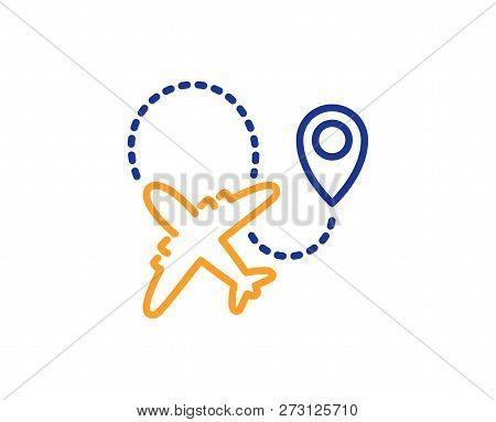 Airplane Line Icon. Plane Flight Transport Sign. Aircraft Symbol. Colorful Outline Concept. Blue And