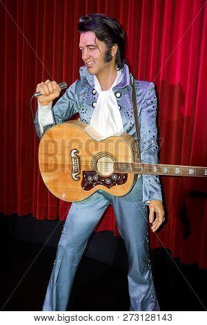Montreal, Canada - September 23, 2018: Elvis Aaron Presley - American Singer And Actor. Wax Museum G