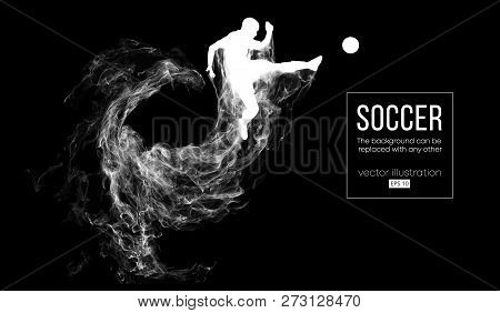 Abstract Silhouette Of A Football Player On Dark Black Background From Particles. Soccer Player Runn