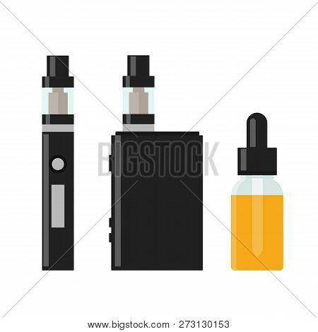 Vaping Device And Accessory. Electronic Cigarette And Bottles With Vape Liquid. E- Liquid, E-juice.