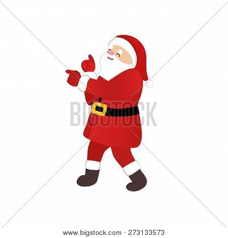 Santa Claus Dancing Cartoon Style, Funny Disco Dance, Quirky Comic Animation Character, Isolated Vec