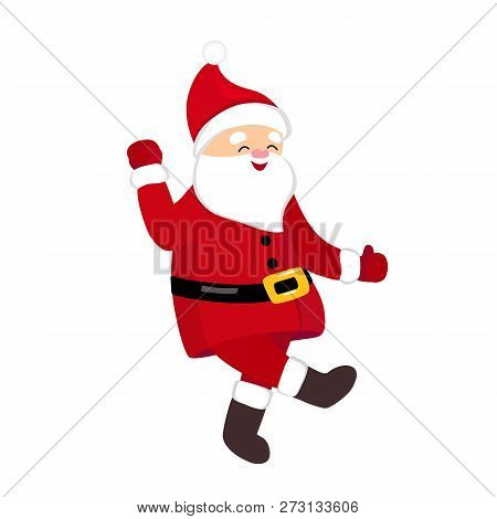 Funny Santa Dancing Hype Move, Quirky Cartoon Comic Character In Traditional Christmas Costume, Isol