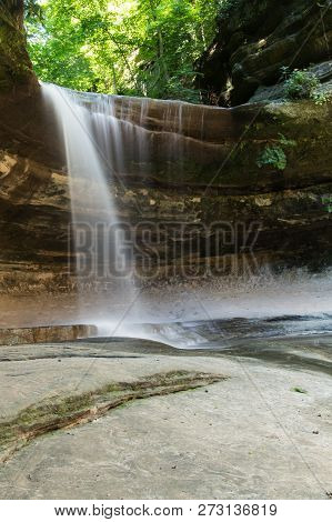 A Waterfall Over A Small Cliff.  Starved Rock State Park, Oglesby, Illinois, Usa.