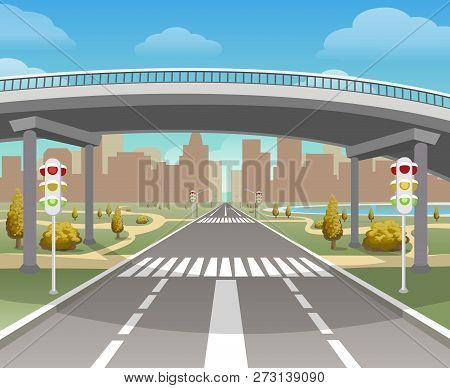 Overpass. Autobahn and highway, bridge and road highways intersection, motorway city and flyover, viaduct vector illustration poster
